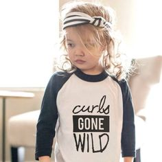 Image of Ready to ship! Curls Gone Wild Baseball Tee Black