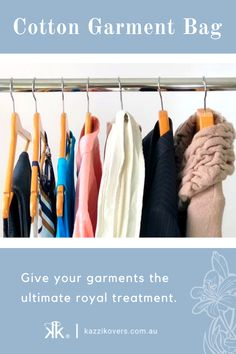 Give your garments the ultimate royal treatment in 100% Cotton Garment Bags. Kazzi Kovers garment covers are full-enclosed keeping out dust, dirt, and insects (especially moths). Cotton has many fabulous attributes. Breathable. Acid-Free. Eco-Friendly. Available in Regular and Large Sizes and in Combo Packs.