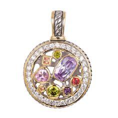 Amethyst Morganite Peridot Pink Simulated Topaz Simulated Ruby Pendant 925 Sterling Silver Beautiful Jewelry Pendant TE647