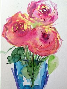 Three Art Print featuring the painting Three Pink Roses 1 by Britta Zehm