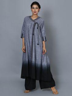 Grey Black Chambray Cotton Angrakha Kurta – The Loom