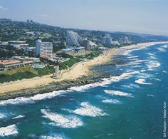 Umhlanga Rocks - elegant seaside suburb of Durban, KwaZulu-Natal. O'Conner Promenade and Natal Sharks Board. South Beach, Durban South Africa, Kwazulu Natal, Out Of Africa, Beaches In The World, Pretoria, Am Meer, Aerial View, Beautiful Beaches