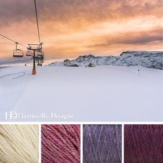 'Ski Slope Sunset' color palette featuring Highland yarn in White, Aster, Delphinium, and Black Cherry.