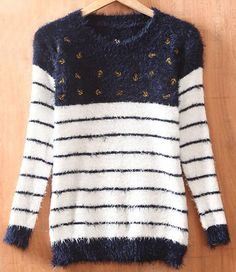 Navy White Stripes Anchor Embroidery Long Sleeve Fluffy Jumper #SheInside