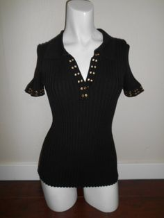 90s Vintage black ribbed  top shirt by ATELIERVINTAGESHOP on Etsy