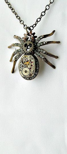 Steampunk Spider Necklace Large by SteampunkEarthstones on Etsy