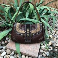2fa7bdeefdc Gently used distressed dark brown leather embroidered and studded shoulder  bag with unique strap, traditional, boho, bohemian, hippy, gypsy