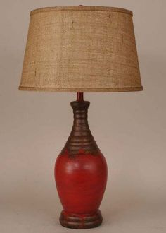 Distressed Red Lamp Western Lamps - Ceramic base in distressed red brick finish with rustic burlap shade. Made in the USA.