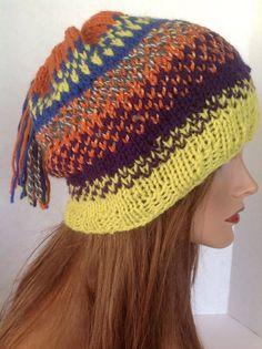 Hand Knit Hat Beanie Slouch Beret Fringe Tassell Multicolr Designer Hip Fashion #Handmade #Beanie