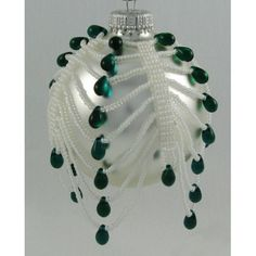Candy Cane Drops Ornament Cover Kit Green/White - Bead Patterns by Michelle Skobel