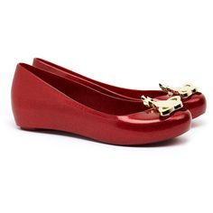 Vivienne Westwood for Melissa Ultragirl Red Glitter Orb Flats (€65) ❤ liked on Polyvore featuring shoes, flats, red, glitter shoes, red flat shoes, embellished flats, red shoes and peep toe flats