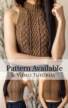 Crochet Vest Pattern, Crochet Shirt, Cute Crochet, Beautiful Crochet, Crochet Cable Stitch, Crochet Halter Tops, Crochet Designs, Modern Crochet Patterns, Crochet Woman