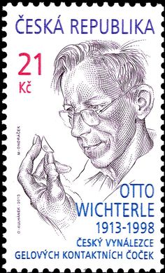 Miloš Ondráček was the engraver of a postage stamp issued by Czech Republic on 16 October It shows Otto Wichterle - Czech inventor of contact lenses. Postage Stamp Art, Chat Board, My Roots, My Heritage, Stamp Collecting, Czech Republic, Line Drawing, Literature, Medicine