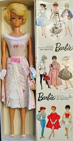 This is a Barbie Doll from the 1960s. Barbies actually first appeared as a comic strip character and then was made into a doll who wore all the latest fashions. The body dimensions of Barbie exuded a sex appeal. She had many different jobs including a flight attendant, barmaid and nurse.