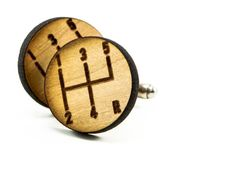 Mens Automotive Gear Shift Cufflinks Round Wooden by JDBmercantile, $20.00