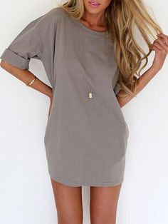 Simple Short Sleeve O-Neck Solid Color Chiffon Dress | Chic Outfits