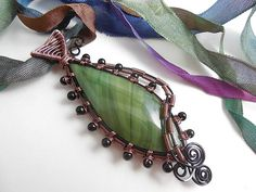 Imperial Jasper and Black Agate pendant | dawnblairjewelry | Flickr