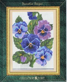 Blue And Purple Pansies Tapestry Kit - Collection D'Art - 3048K - 14cm x 18cm