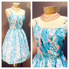TIKI GAL 1950's Baby Pink w Turquoise Blue Light & Airy Gathered Bodice Flower Hawaiian Day Sun Dress w Double Straps by Junior Vogues Sm Md...