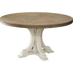 Gather friends and family for Sunday brunch or a weeknight meal around this lovely table, showcasing a round silhouette and pedestal base.