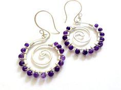 Amethyst gemstone wire wrapped handmade spiral earrings