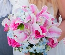 Bouquet, pink and light blue with Lilies.
