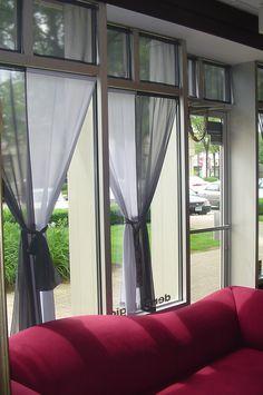 Custom designed window treatments for OGGI salon in Glastonbury (by Tatyana).