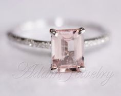 Anniversary Rings Pink Emerald Cut VS Morganite Ring SI/H Diamonds Wedding Ring White Gold/ White Gold Engagement Ring/ Promise Pretty Rings, Beautiful Rings, Gold Engagement Rings, Wedding Rings, Gold Wedding, Morganite Engagement, Pink Saphire Engagement Ring, Wedding Engagement, Pink Diamond Ring