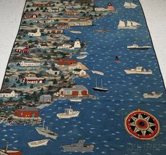 Large Pictorial Wool Hooked Rug with Coastal View of Camden, Maine