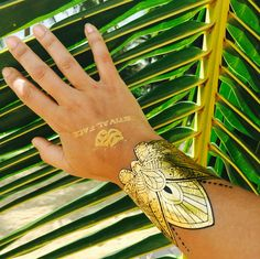 Lotus metallic tattoos available in gold & silver on Festivalface.co.uk