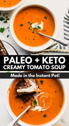 This easy and creamy recipe for Instant Pot tomato soup comes together in under 30 minutes. It is made with canned tomatoes and is completely dairy free, paleo, and keto. It is one of the best recipes for tomato soup and incrediby healthy for you and the whole family. #movementmenu #instsantpot #tomatosoup #dairyfree #whole30 Best Paleo Recipes, Healthy Soup Recipes, Whole 30 Recipes, Chili Recipes, Real Food Recipes, Paleo Soup, Healthy Food, Gluten Free Soup, Dairy Free