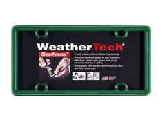 Green ClearFrame License Plate Frame - ClearFrame(TM) License Plate Frame by WeatherTech(R). Made from highly durable polymer, featuring Multi-Flex(TM) Gasket that seats against your plate snugly preventing vibration or rattling. FEATURES 1-piece construction for easy installation Stepped lip design to fit license plate snugly Click and Stay(TM) screw caps Virtually indestructible 1 License Plate Frame per order Stainless Steel hardware kit included to fit most vehicle applications The…