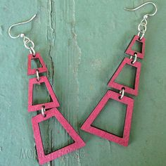 JUDITH'S PYRAMID Green Tree Jewelry WINE laser-cut wood earrings made-USA
