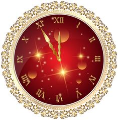 Red New Year's Clock PNG Transparent Clip Art Image