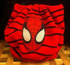 Handmade Spiderman Appliqued Minky Birth To Potty Pocket Nappy.