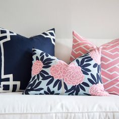 Asian blooms cascade through bold leaves & wandering branches in my principal pattern, Fleur Chinoise. Classic navy & poppy pink on aqua make this smart colorway tailored to fit any decor. 100% Cotton