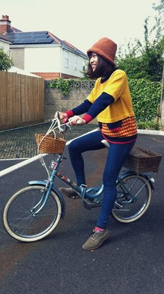 Ringo Y. - Yu Square Mustard Clown Jumper, Jack Wills Skinny Jeans, Office Lace Up Suede Shoes - Bike Trip Folding Bicycle, Bicycle Girl, Bike Style, Custom Bikes, Suede Shoes, Cycling, Jack Wills, My Style, Skinny Jeans