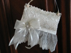 "SACHET PILLOW, ""Lilly Of The Valley""Sachet, Antique Rhinestone Earring, Ivory Wedding Lace, Home or Bridal, Gorgeous."