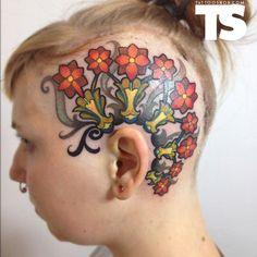 tattoo on the head - 45 Crazy Tattoos on Head  <3 <3