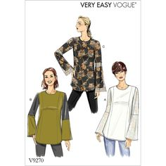 Misses Princess-Seam Tunics with Zip Vogue Sewing Pattern 9270.