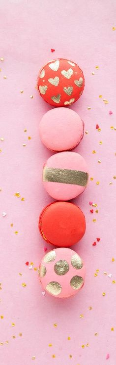 Pink & red & gold macarons. #sweettreats