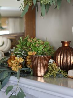 A romantic fall mantel featuring shades of copper and blush, eucalyptus, pumpkins, and hydrangeas makes for a softer version of traditional fall colors. Copper Kitchen Decor, Copper Decor, Vintage Fall Decor, Autumn Decorating, Decorating Ideas, Decor Ideas, Mantel Ideas, Fall Arrangements, Blue And Copper