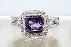 Violet Sapphire & Diamond Ring in 14K White Gold