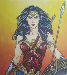 Wonder Woman Art Print 8,5x11'' Cardstock Paper Crescent Lion Art