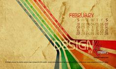 February Desktop Calendar called 'Design' showcasing the design skills of ROR creative