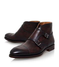 Handmade men brown boots, double monk strap boot,