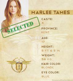 Marlee Tames. Casta: Quatro. Província: Kent. Idade: Dezessete anos. Cor do cabelo: Loiro. Cor dos olhos: Azuis. A Seleção.