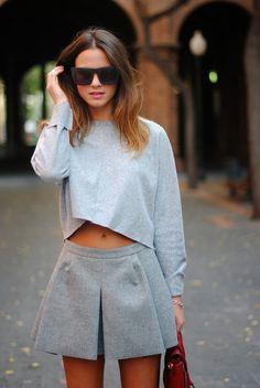 Outstanding Grey Pleats Lovely Casual Look: