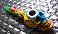 4 Color Glossy Snake Skull Tobacco Smoking Pipe Small Bowl Metal Edge Blue Green