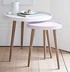 With three Scandinavian style white cedar legs and a smooth modern painted lipped top, our Lina Side Tables are finished in two complimentary shades, the larger a light powder blue and the smaller a soft grey blue. Use alone as a stylish side table or nes Side Tables Uk, Small Round Side Table, Small Tables, Blue Tables, Modern Side Table, Accent Tables, Plans Loft, Deco Paris, Reclaimed Wood Coffee Table